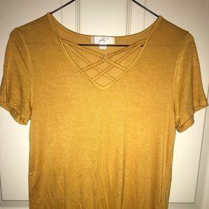 Yellow Cross V Neck Glitz Tee-Shirt